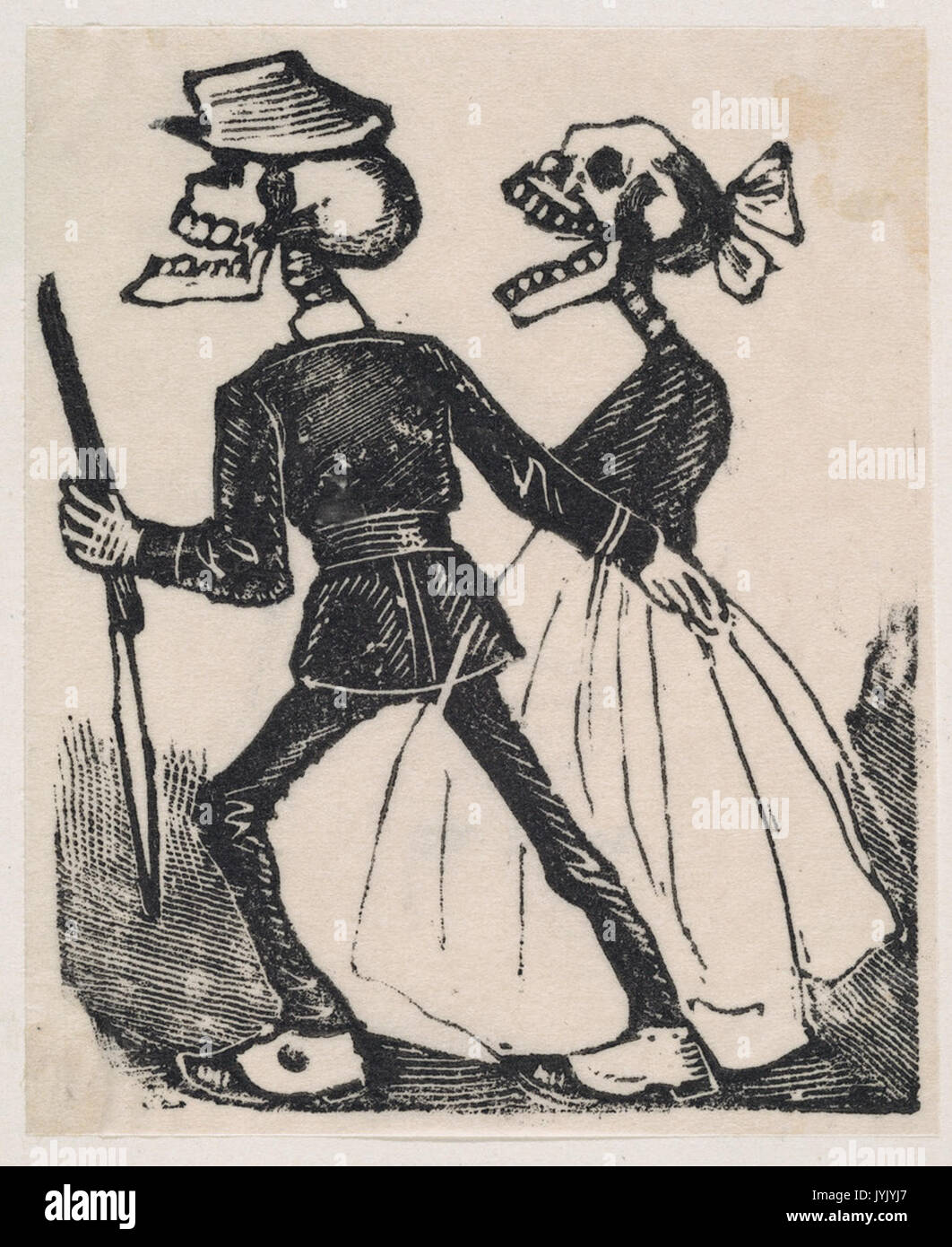 Un hombre esqueleto liderando un esqueleto femenino a la izquierda