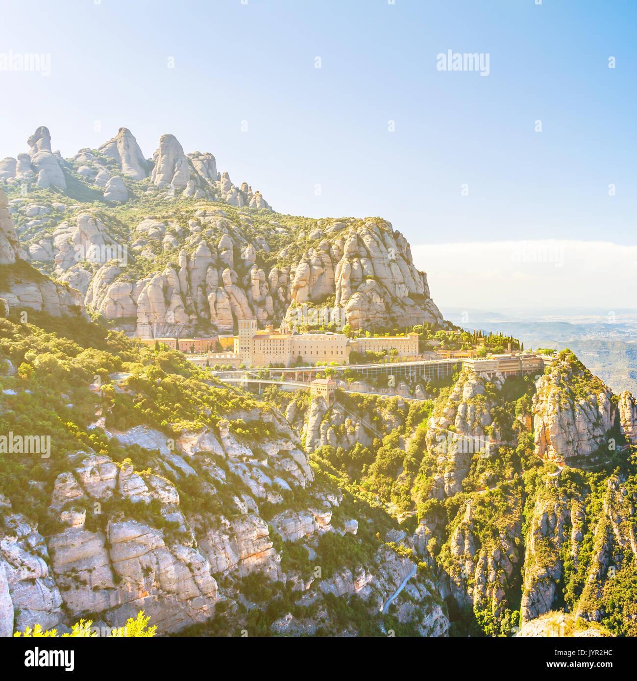 Vista del Monasterio de Montserrat en Cataluña, cerca de Barcelona Foto de stock