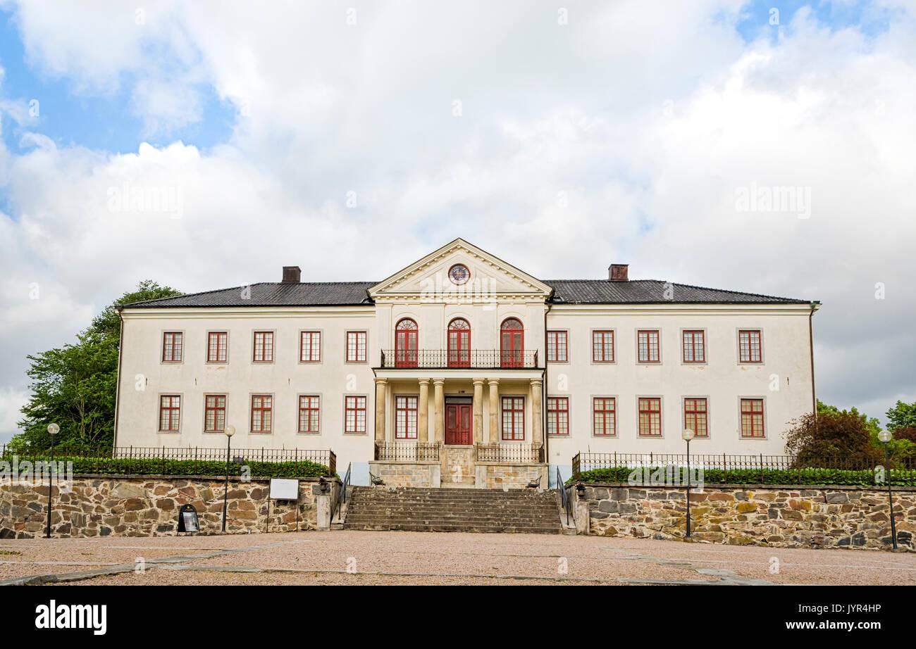 Exterior de la arquitectura de frente del Castillo de Nääs (Nääs Slott), Västergötland, Suecia Foto de stock