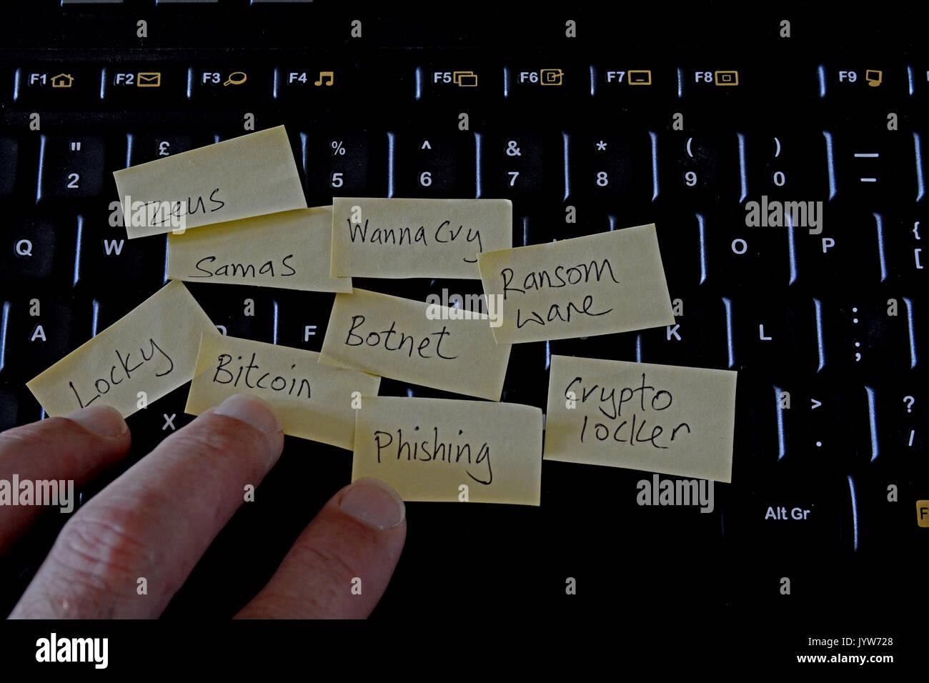 Teclado de ordenador con post-it notes de amenazas informáticas ransomware / atascado. Con mans mano tocando el teclado. Imagen De Stock