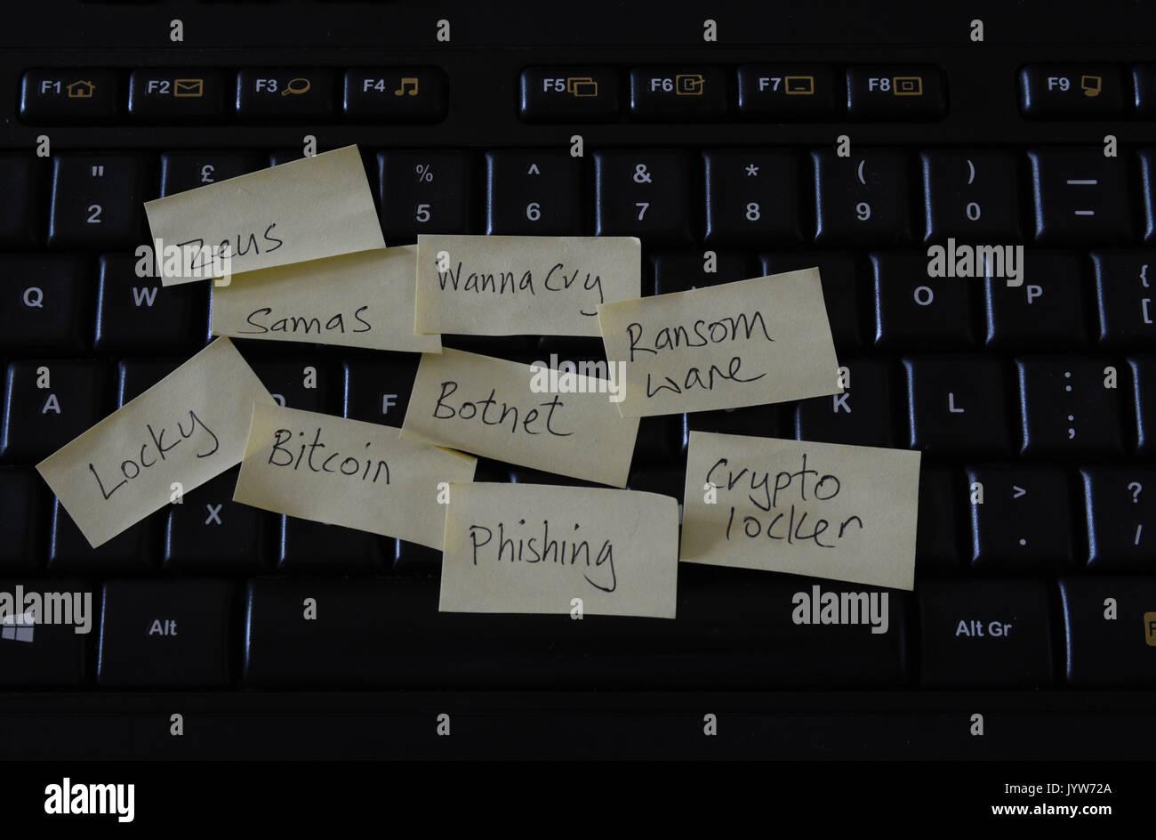 Teclado de ordenador con notas Post-it y amenazas informáticas ransomware Imagen De Stock