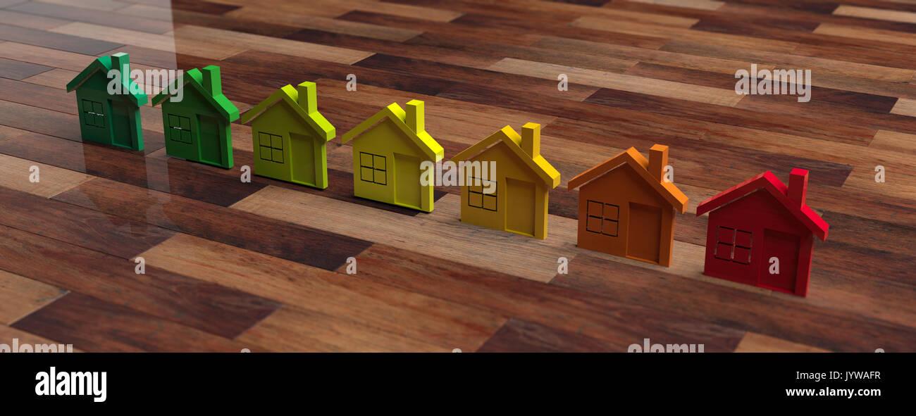 Casas y concepto de eficiencia energética. Ilustración 3d Imagen De Stock