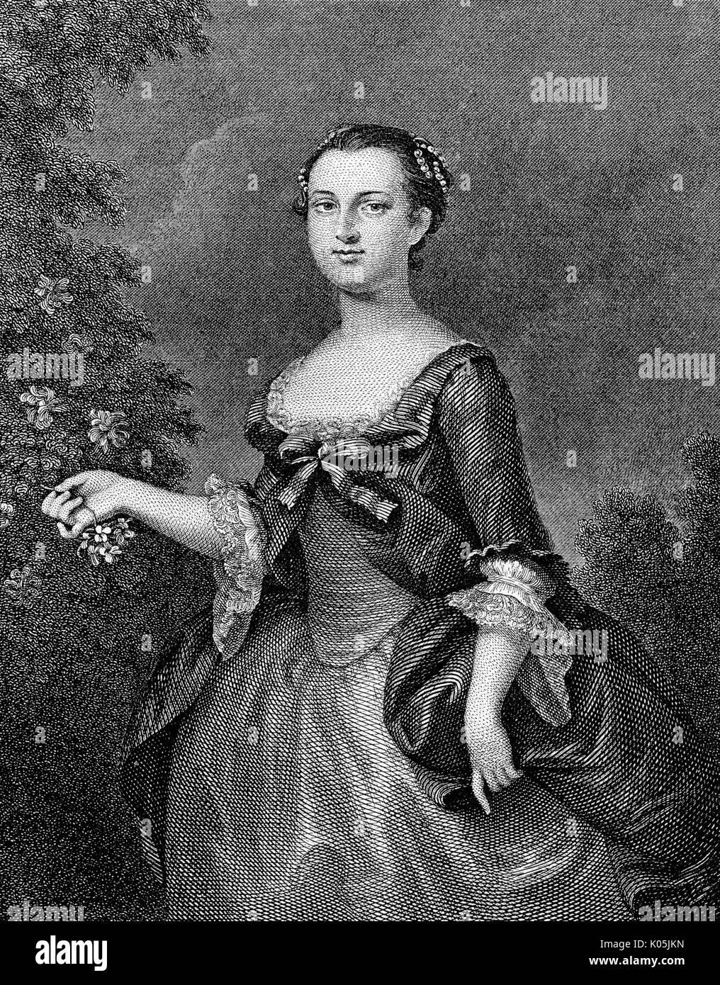 Martha Washington (1732 - 1802), esposa del primer Presidente de los Estados Unidos. Fecha: Foto de stock