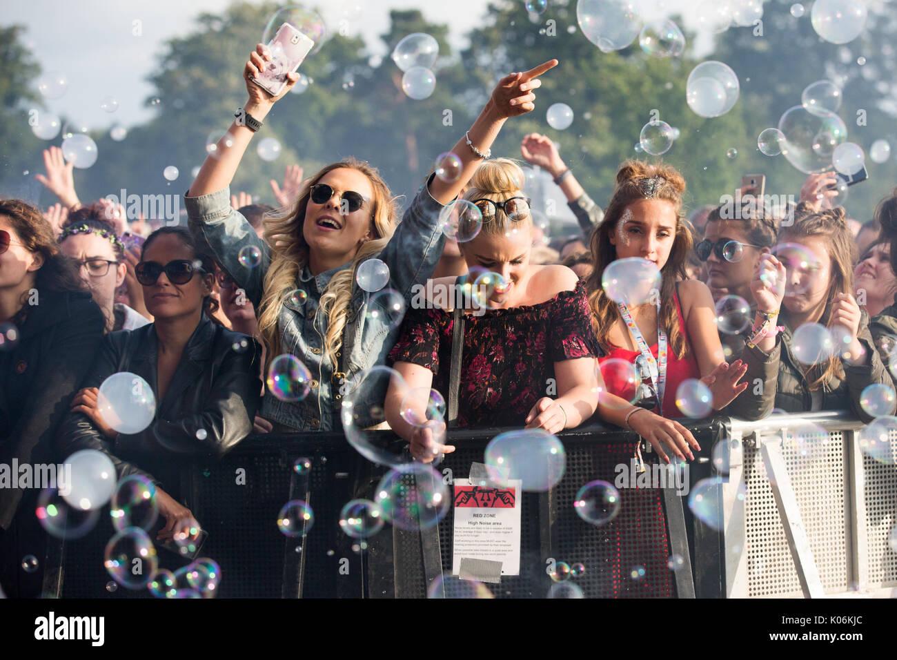 Los amantes de la música en Hylands Park, Chelmsford, Essex el domingo, 20 de agosto de 2003 en el V Festival de este año. Imagen De Stock