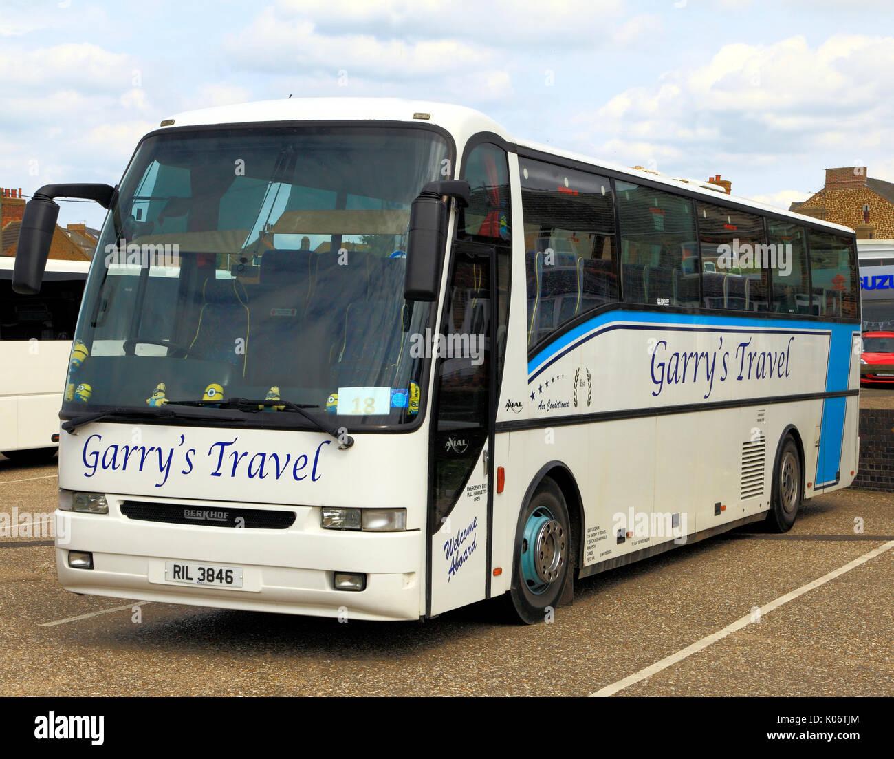 Garry's Travel, coach, entrenadores, día de viaje, viajes, excursiones, excursiones, vacaciones, viajes, empresa, empresas, transporte, Inglaterra, Reino Unido. Imagen De Stock