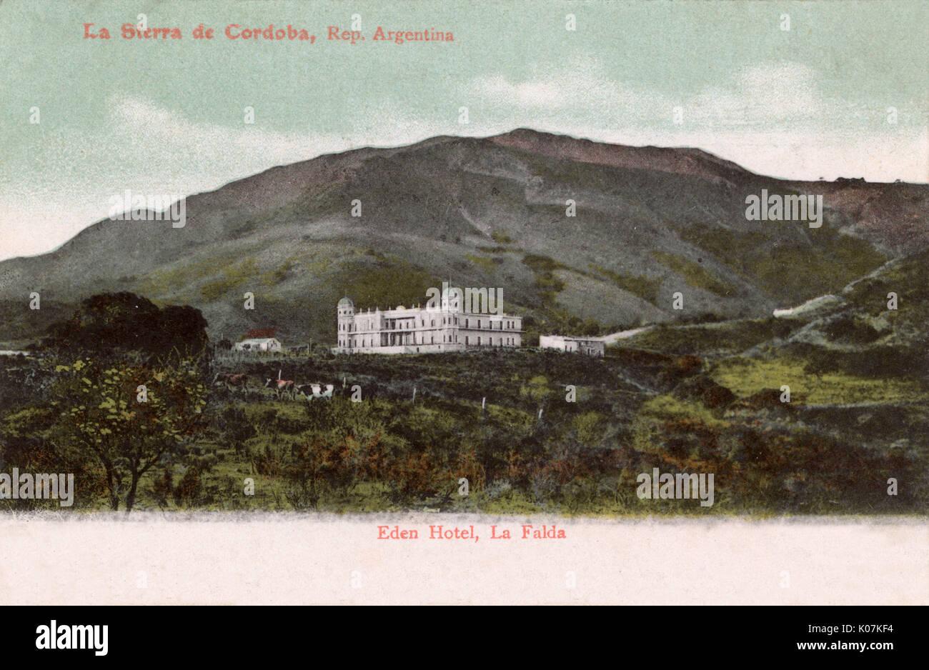 Hotel Eden, La Falda, Argentina, Sudamérica -- construido por un hotelero  alemán, asociado con el Partido Nazi, cayó en desuso, pero ahora está  parcialmente restaurado y reinaugurado como destino turístico. Fecha: circa