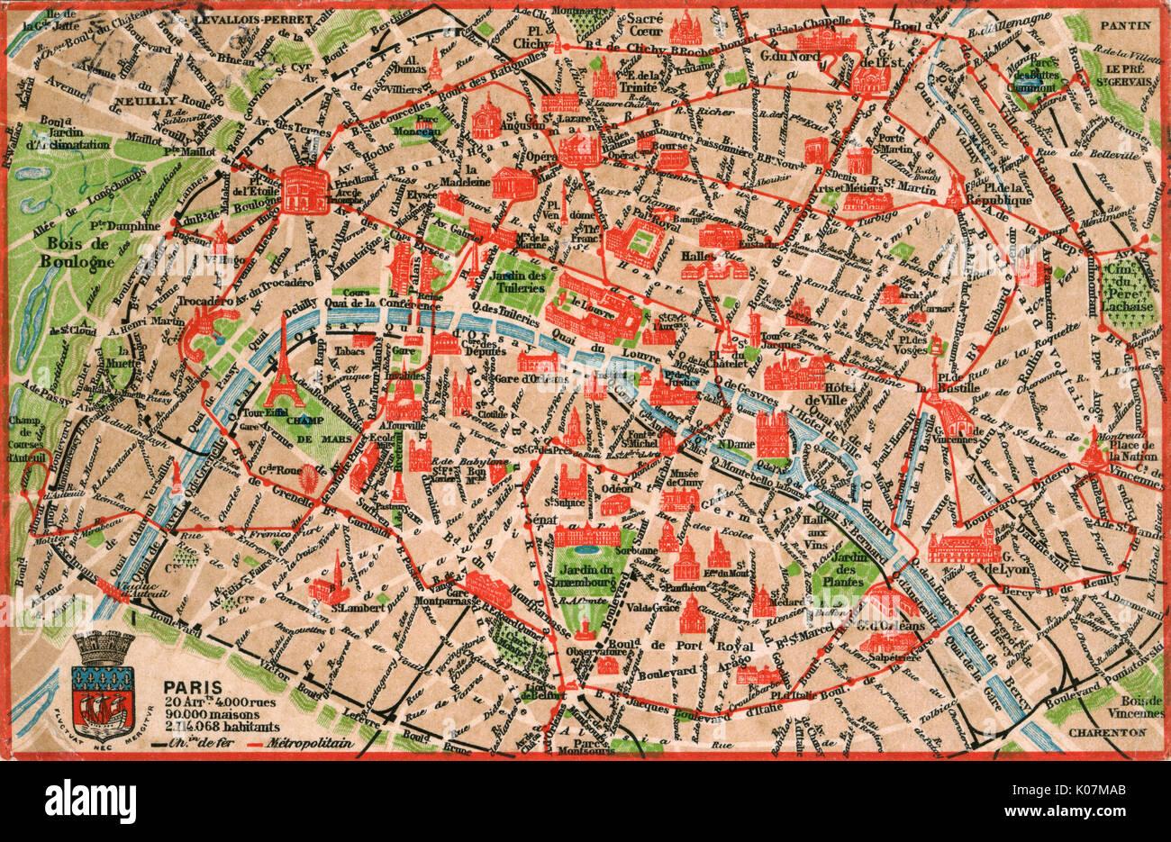 Mapa De Paris Centro.Mapa De Paris En 1908 Con Datos Geograficos Y Demograficos