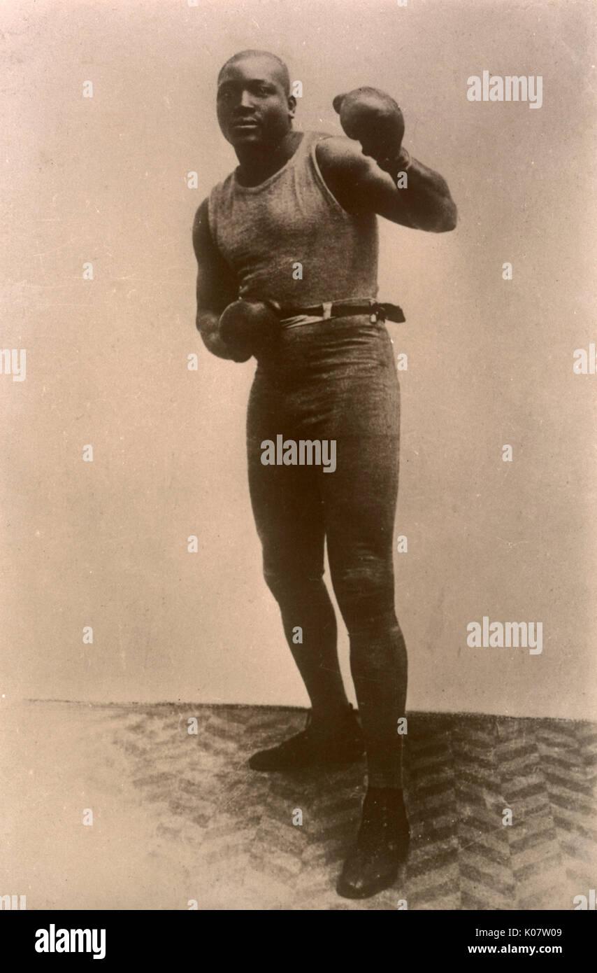 """Jack Johnson (1878-1946), apodado """"El Gigante de Galveston, boxeador campeón del mundo afro-americano, 1908-1915. Foto de stock"""