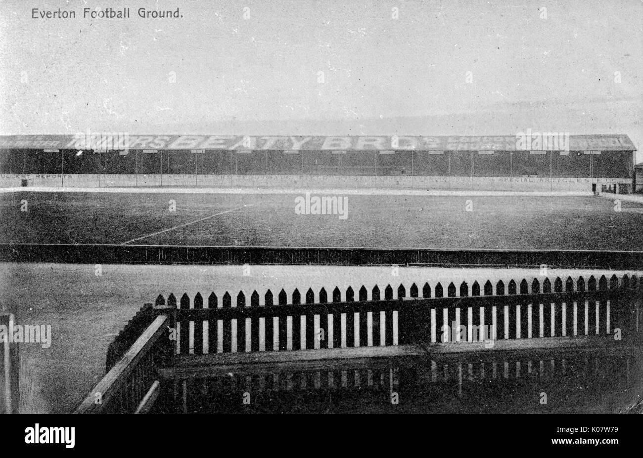 Terreno de Fútbol Everton, Liverpool. Fecha: circa 1910 Foto de stock
