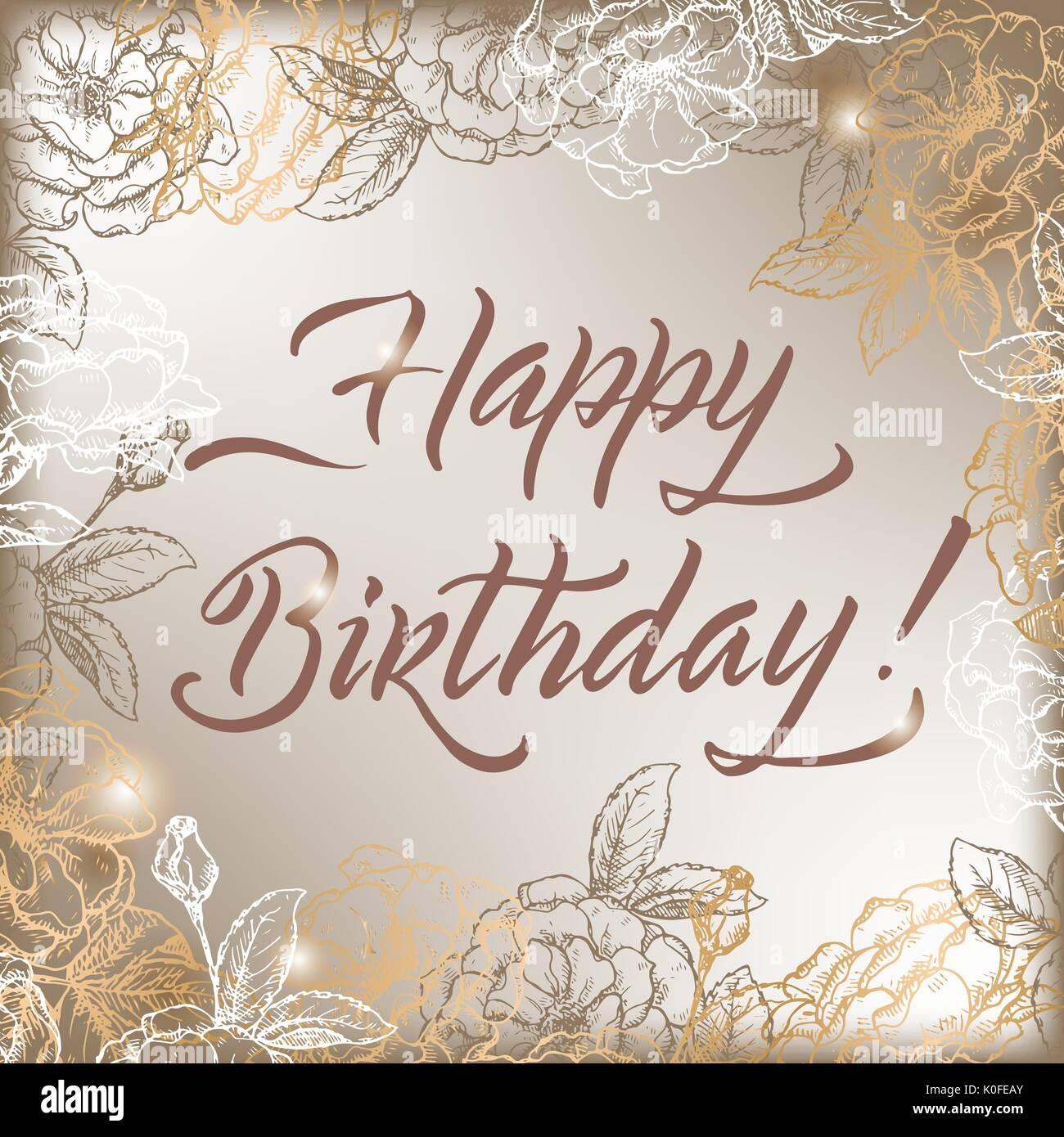 Plantilla de tarjetas de cumpleaños Vintage con caligrafía y rosas ...