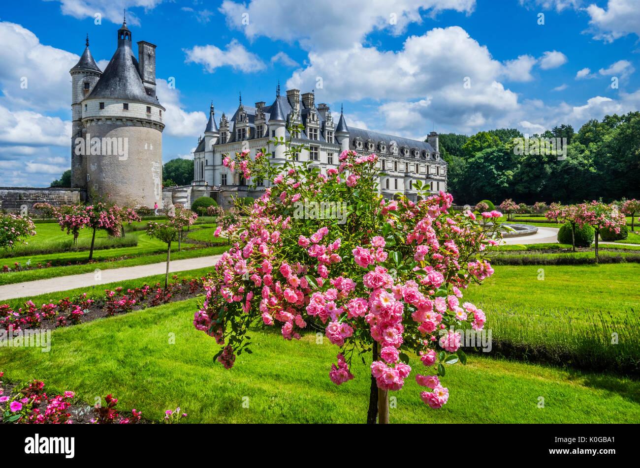 Francia, Indre-et-Loire, Chenonceau, departamento vista del Château de Chenonceau por Catherine's Garden Imagen De Stock