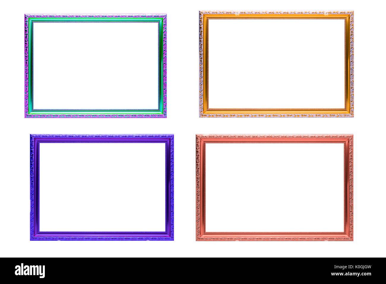 Conjunto de marcos de colorido estilo vintage aislado sobre fondo ...