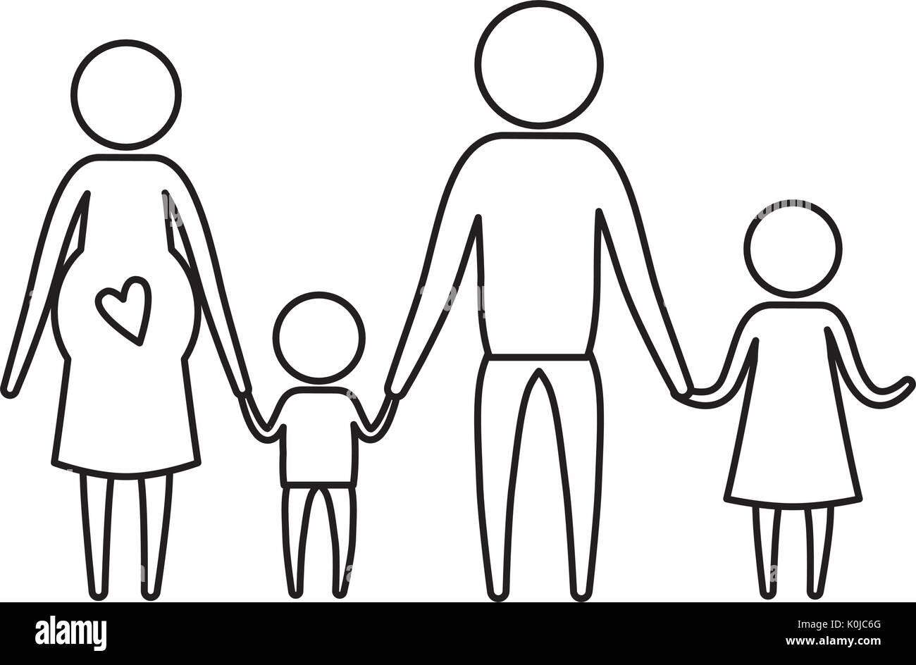 Dibujo Silueta De Pictograma Padres Con El Embarazo De La Madre Y