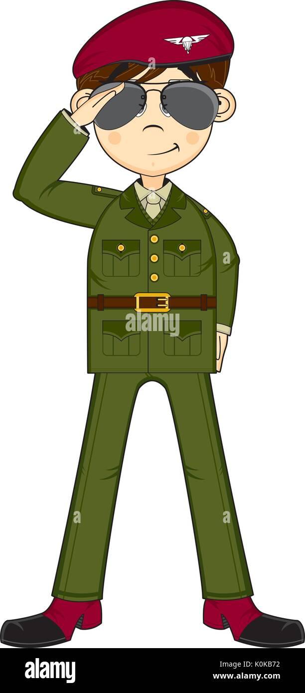 Cartoon boina roja soldado del ejército militar ilustración vectorial  Imagen De Stock 7da75749185
