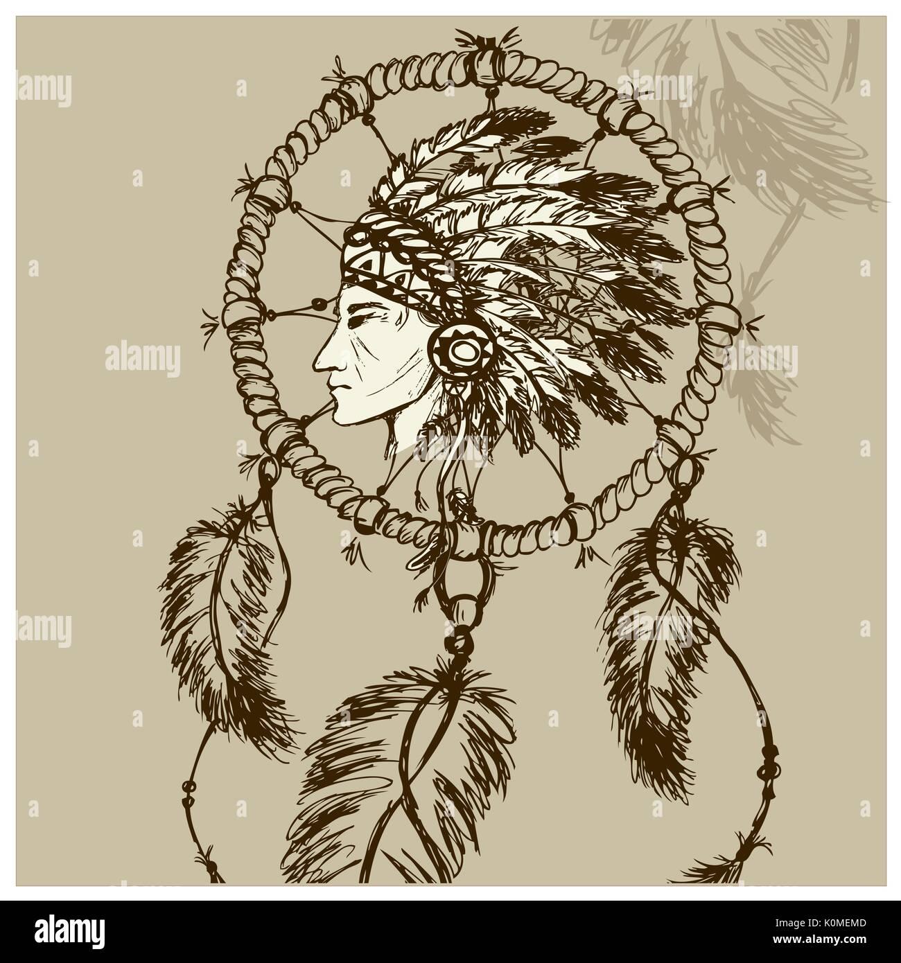 Los indios de Norteamérica con atrapasueños, vector dibujados a ...