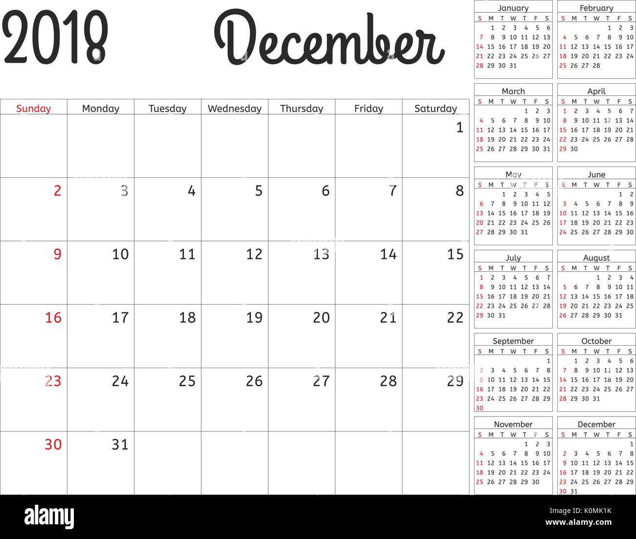 ca3dee8972b8c Calendario simple planificador para el año 2018. Diseño vectorial de  diciembre de plantilla. Conjunto
