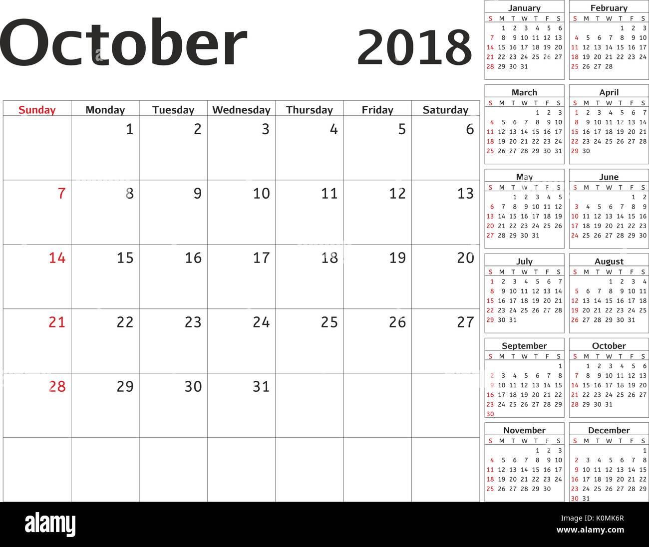 c7ffe2707651a Calendario simple planificador para el año 2018. Diseño vectorial de octubre  de plantilla. Conjunto