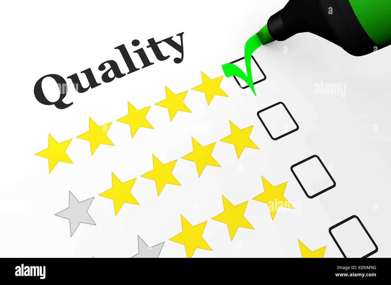 8e7b3e47c Lista de comprobación de calidad empresarial concepto con cinco estrellas  de la evaluación de un cliente feliz ilustración 3d.