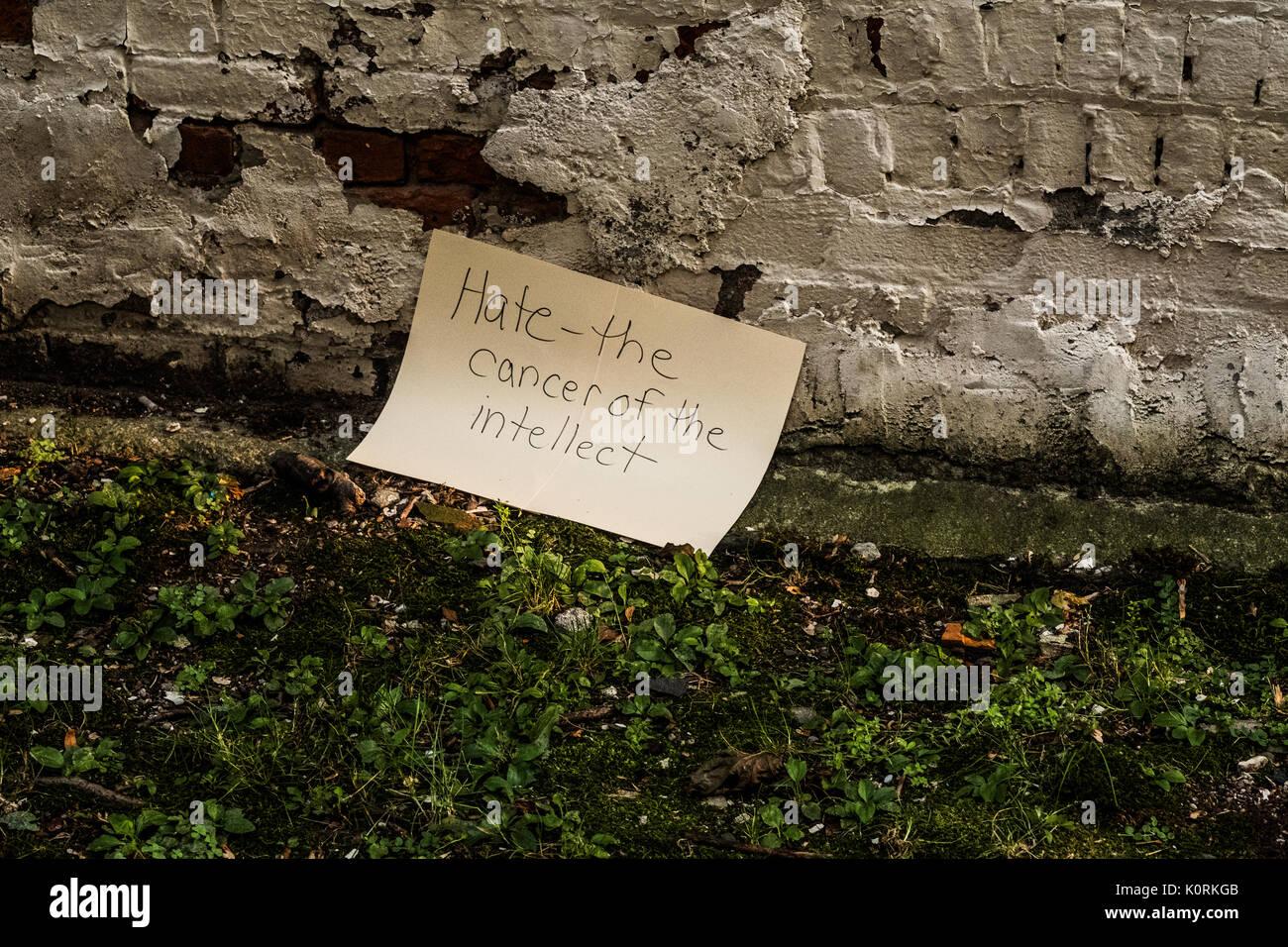 Firmar protestando por los recientes disturbios raciales y comentarios presidenciales después de una protesta anti-odio en Middletown NY Imagen De Stock