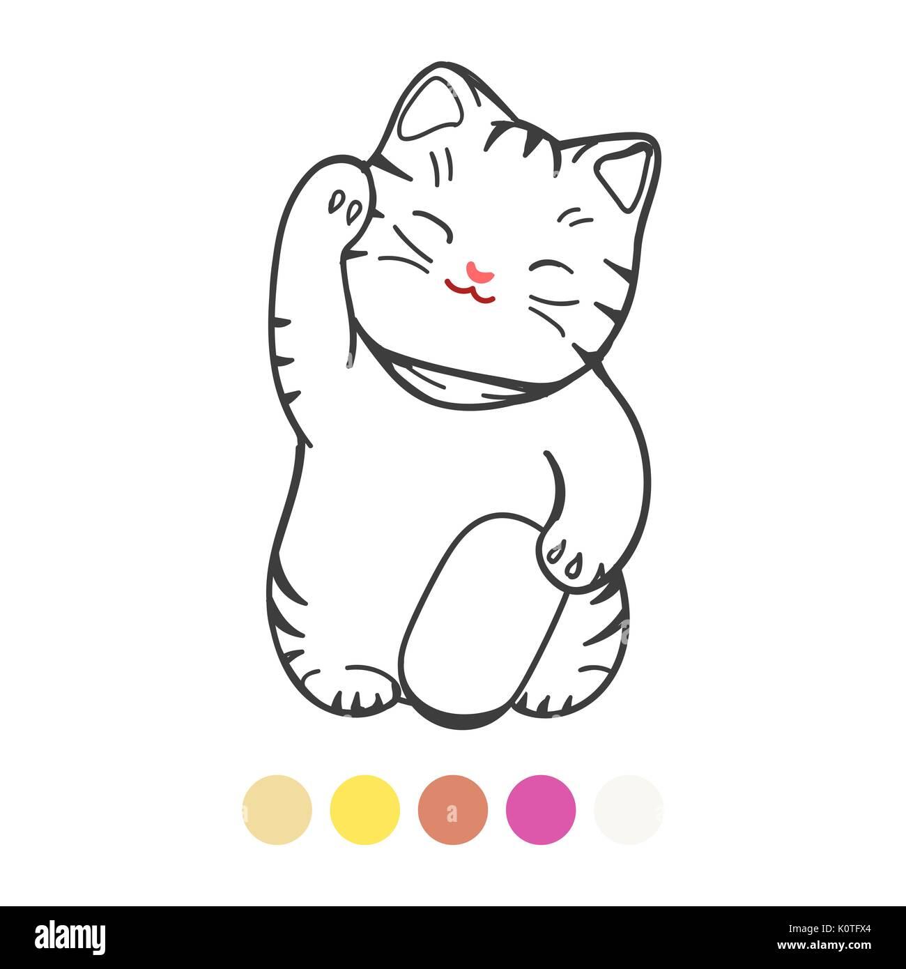 Página para colorear para los niños con colores muestra, ilustración ...