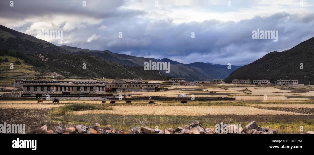 Meseta Tibetana paisajes y arquitectura tradicional. Imagen De Stock