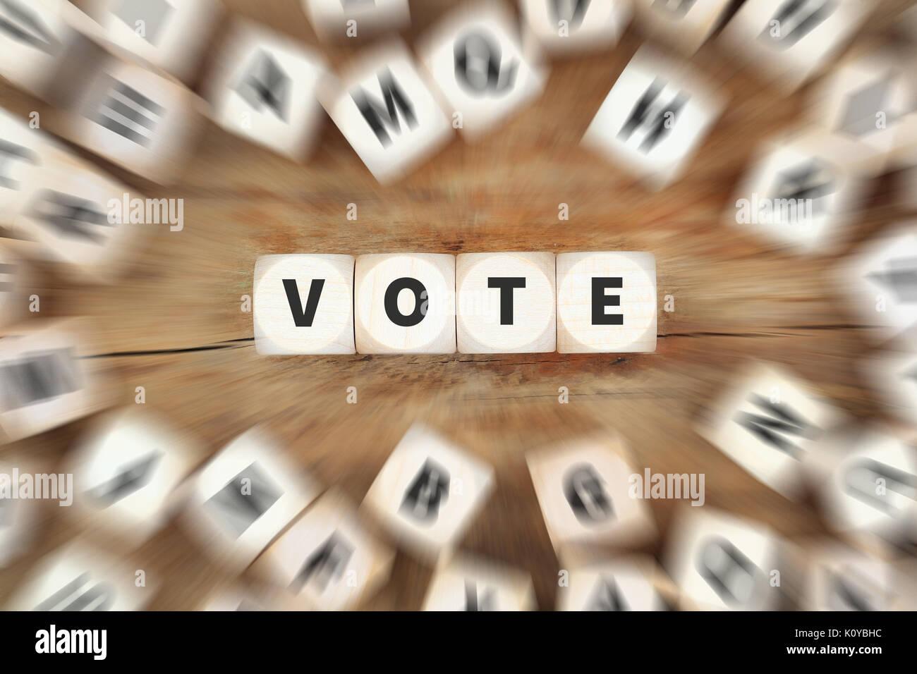 Votación elección política dados concepto empresarial Imagen De Stock