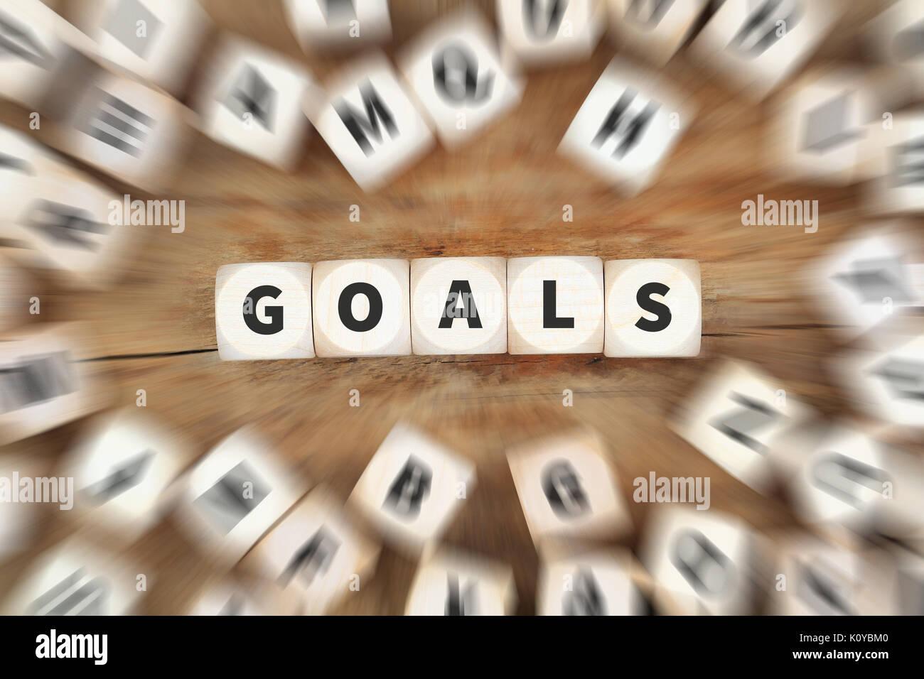 Objetivo la fijación de metas nuevas aspiraciones de éxito futuro estrategia dados concepto empresarial Imagen De Stock