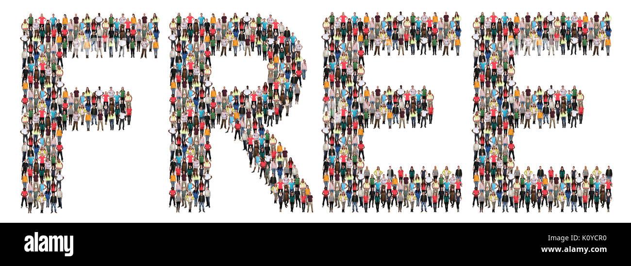 Oferta gratuita Descarga Voucher nuevo envío entrega regalo grupo multiétnico de personas aisladas Imagen De Stock