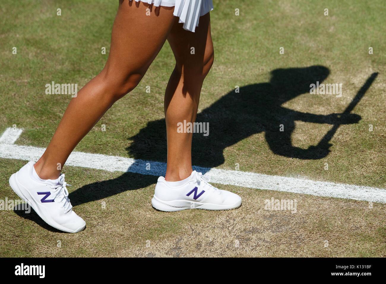 Tenis genérico sombra de Heather Watson en el Ladies' Singles - campeonatos de Wimbledon 2017 Imagen De Stock