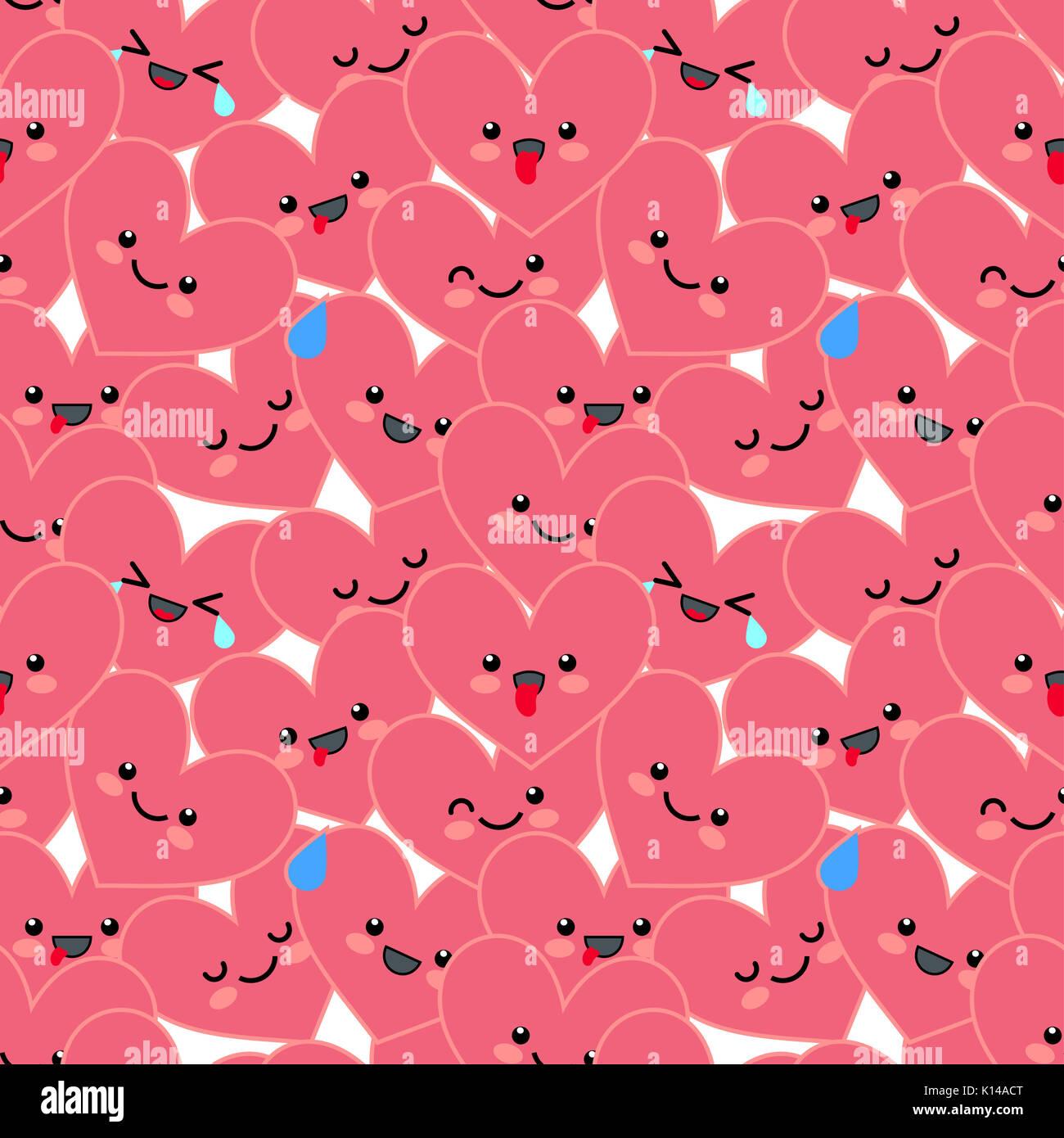 Gracioso Fondo Con Corazones De Color Rosa Trama Perfecta
