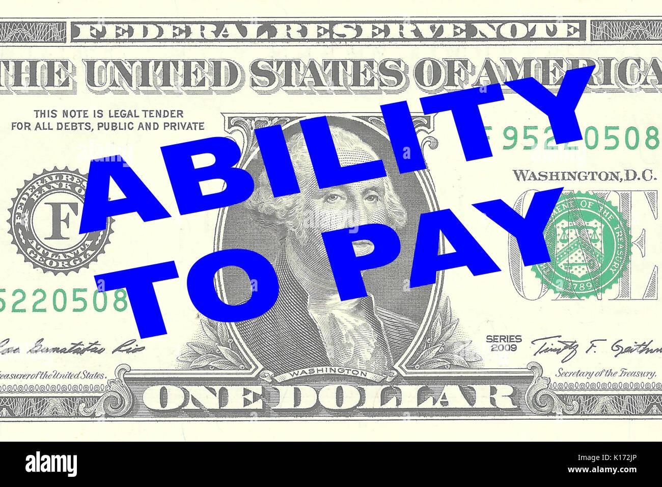 """Representar la ilustración de la """"capacidad de pago"""" título en un billete de dólar como fondo Foto de stock"""