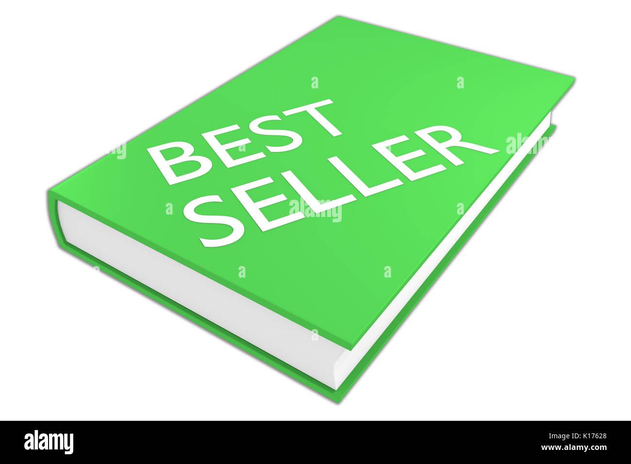 Ilustración 3D de 'best seller' script en un libro, aislado en blanco. Concepto de literatura. Foto de stock