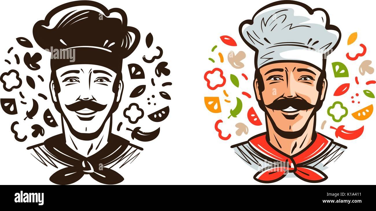 Retrato De Feliz Chef, Cocinero. Cocina, Cocinar Logotipo