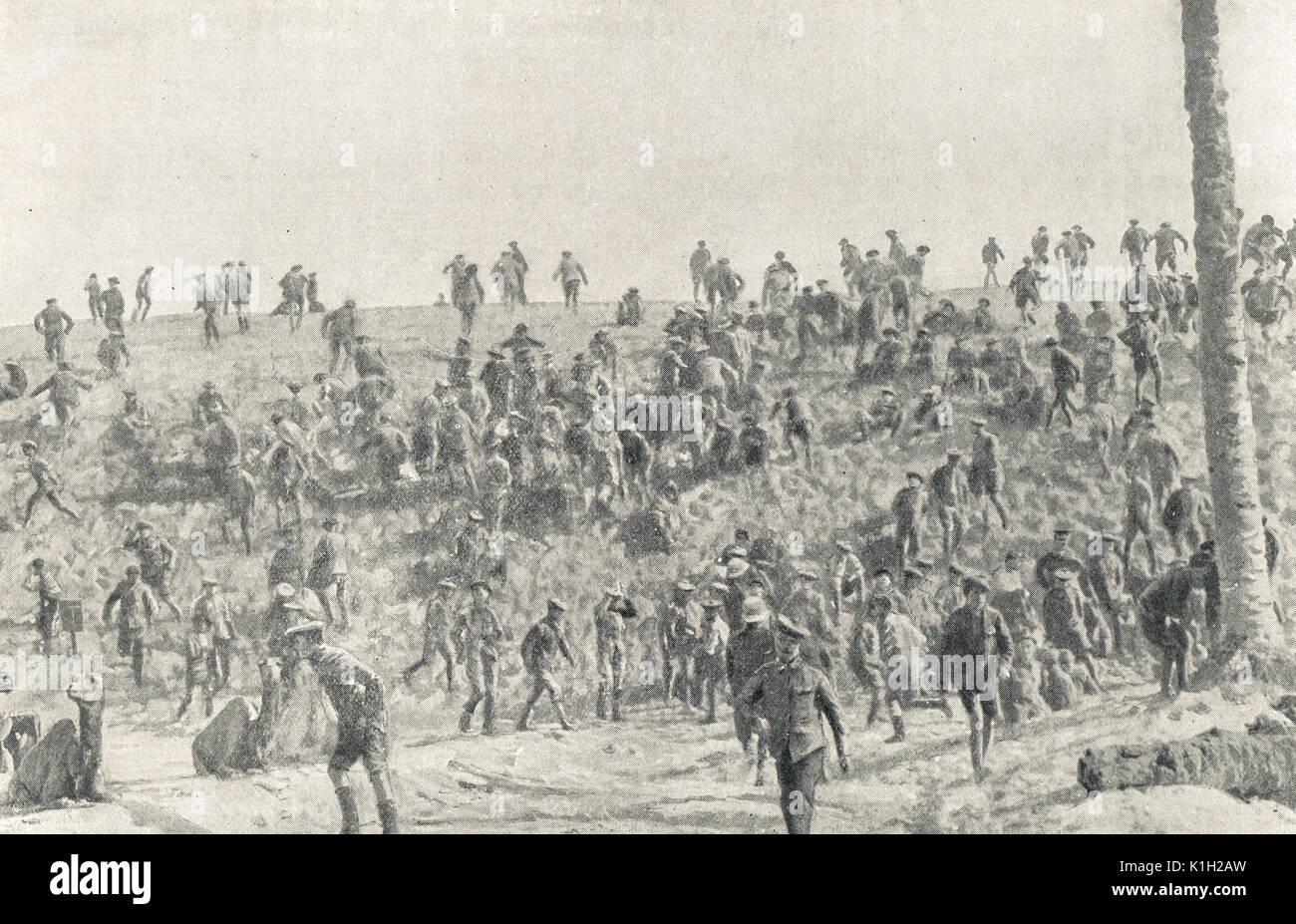 Air Raid interrumpir el combate de boxeo, WW1 Imagen De Stock