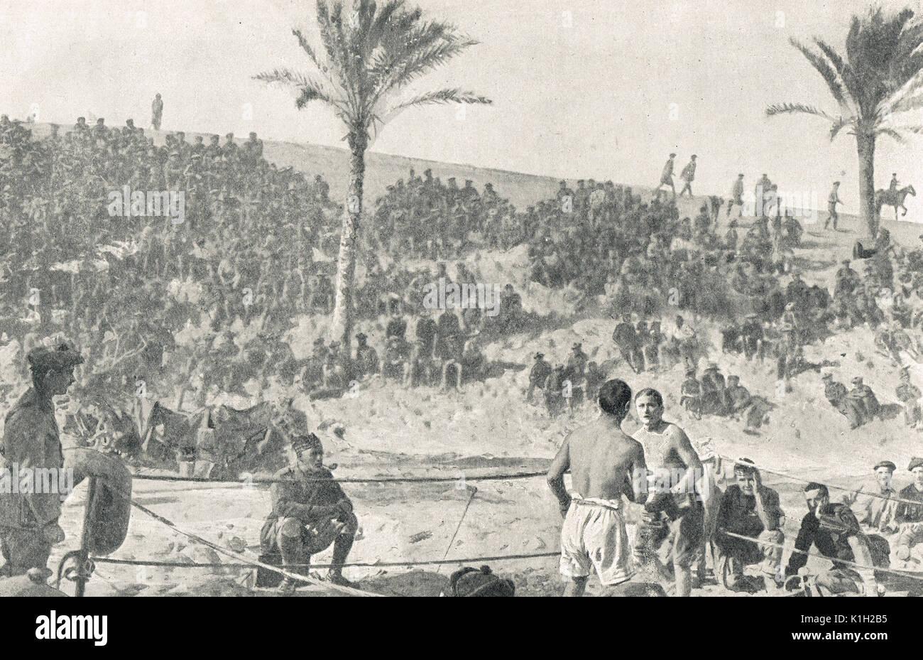 Combate de boxeo, campamento británico en Egipto, WW1 Imagen De Stock