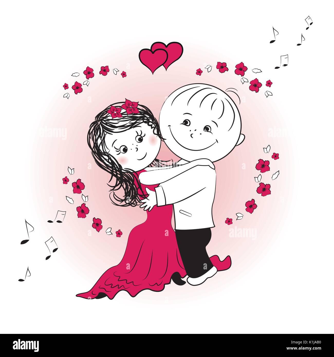 Pareja De Baile De Amor Ilustración Vectorial De Dibujos Animados