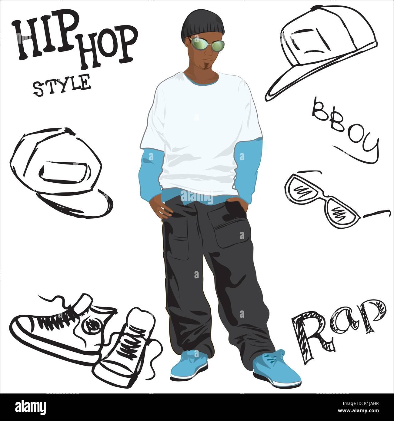 1d7e36f520ac2 Hombre afroamericano vestido como rapero y accesorios de moda hip ...