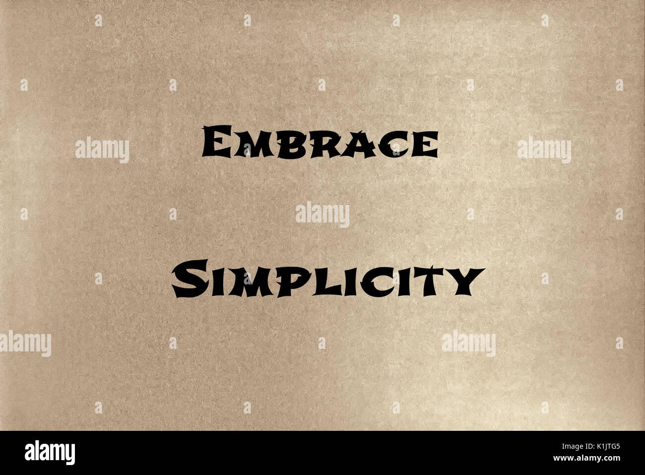 Una frase de Lao Tzu: abrazar la simplicidad. Diseño gráfico. Imagen De Stock