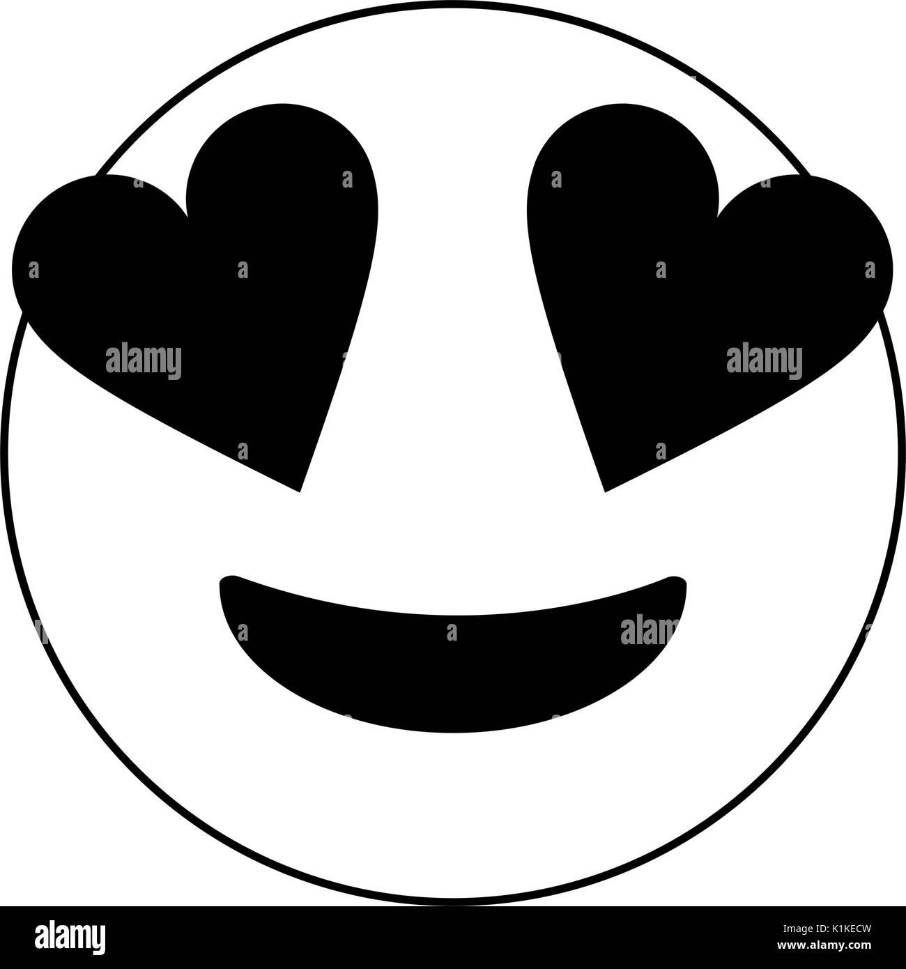 En Blanco Y Negro Amor Emoji Sobre Fondo Blanco Ilustración