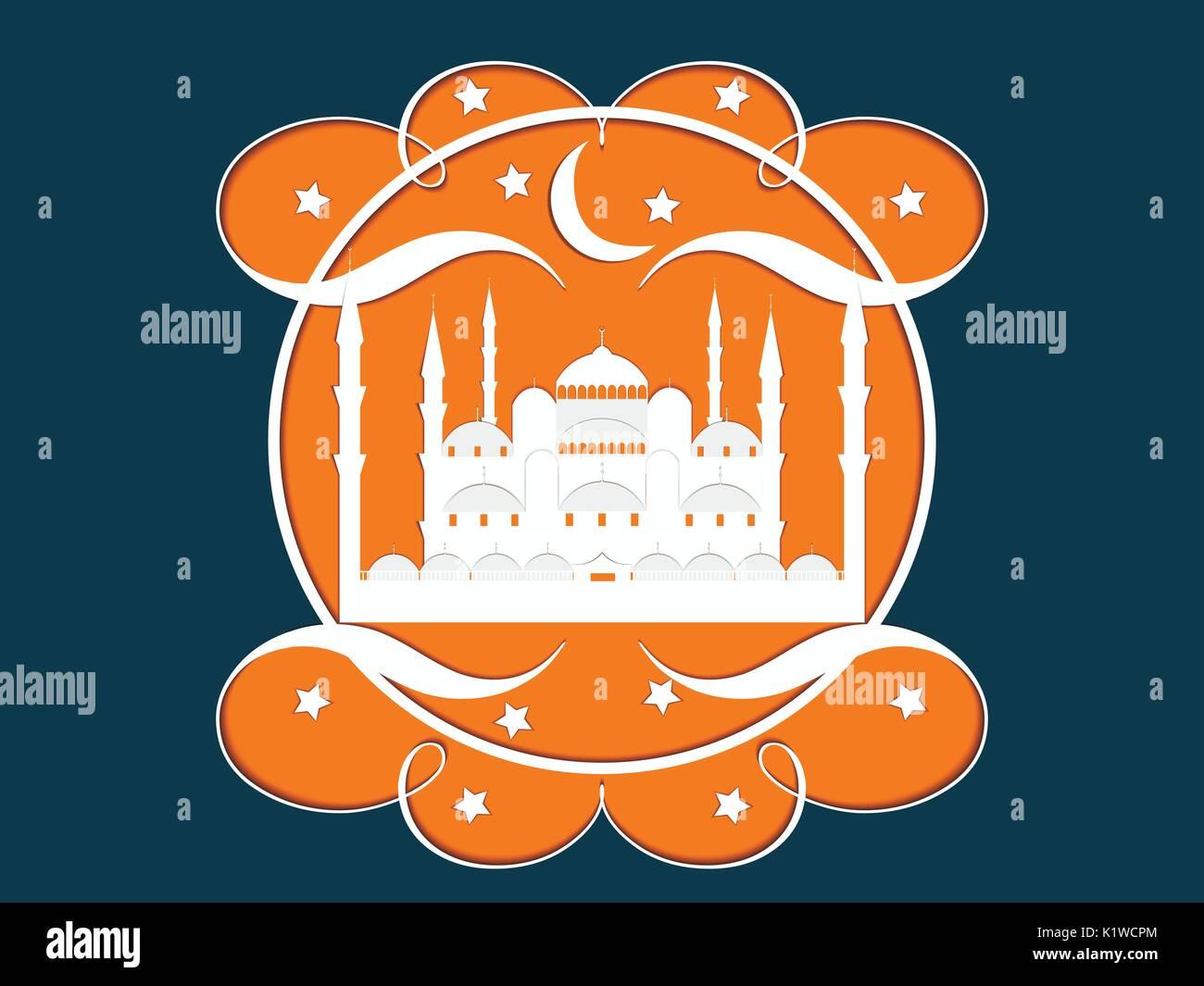El papel de la mezquita. Mezquita Azul. Ramadan Kareem celebración. El mes sagrado. Ilustración vectorial. Ilustración del Vector