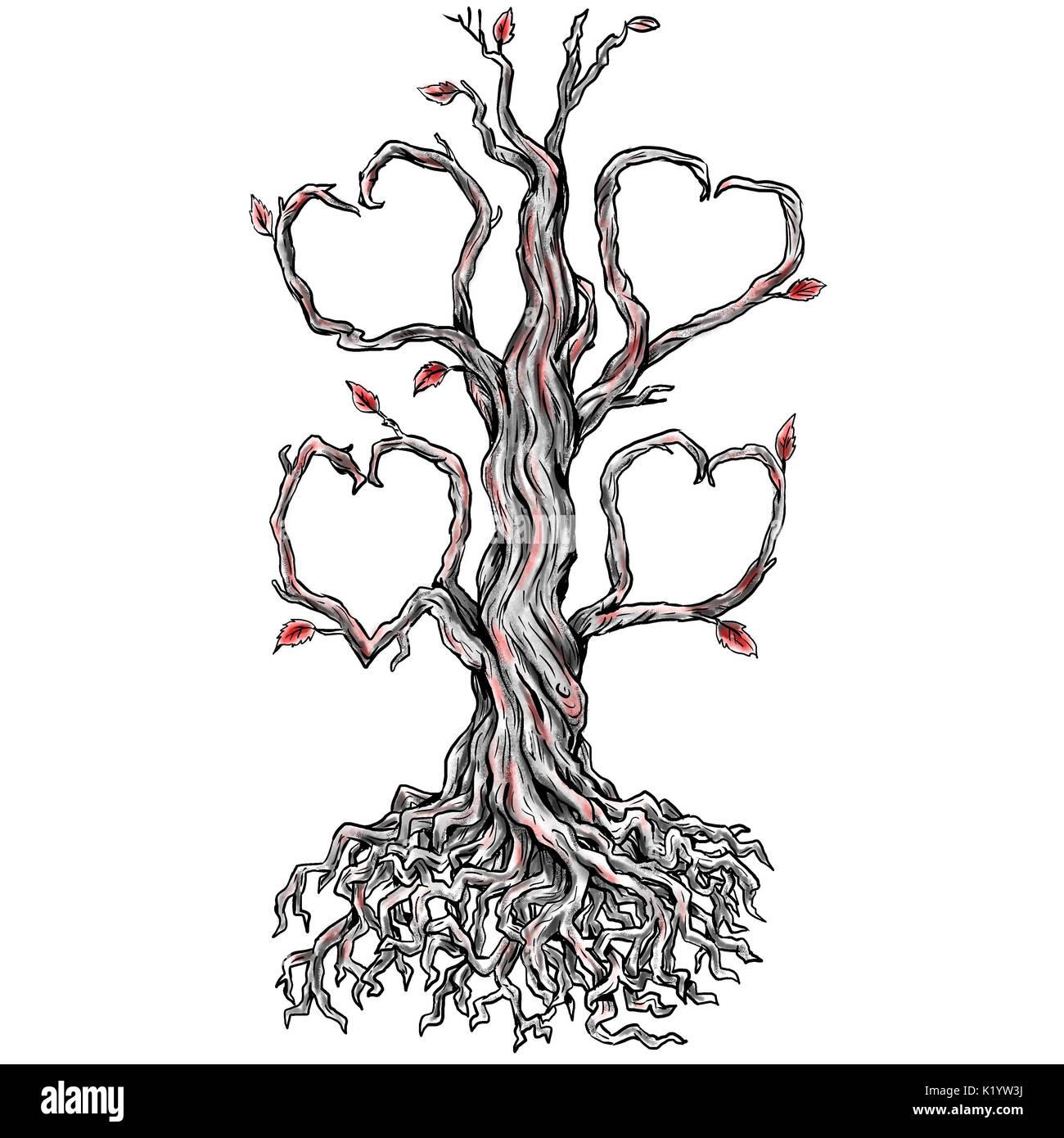 Ilustración Estilo Tatuaje De Un Roble Retorcido árbol Sin Hojas Y