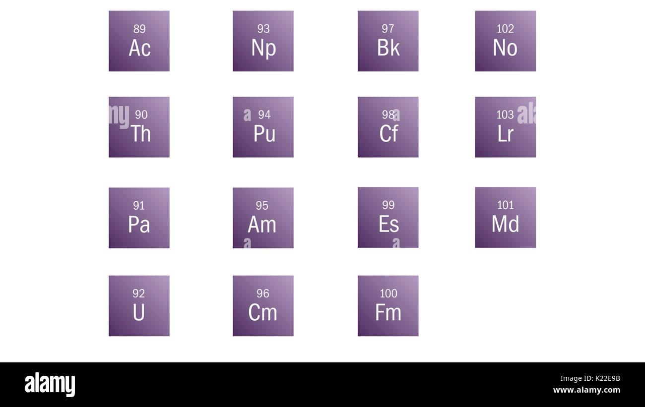 Los elementos radiactivos que son abundantes en la naturaleza (elementos 89 a 92) o hecho artificialmente (elementos 93 a 103). La mayoría de ellos no tienen aplicaciones industriales. Imagen De Stock