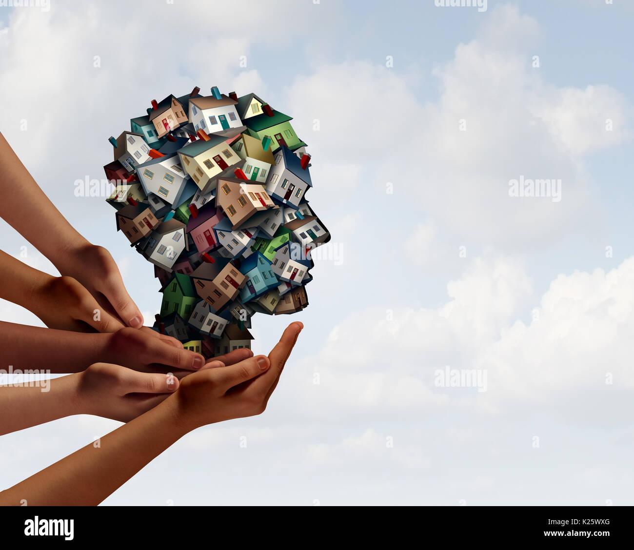 Grupo de agentes de la industria de bienes raíces y símbolo Home Mortgage Broker del concepto de equipo con manos humanas a apoyar a un grupo de hogares o viviendas. Imagen De Stock