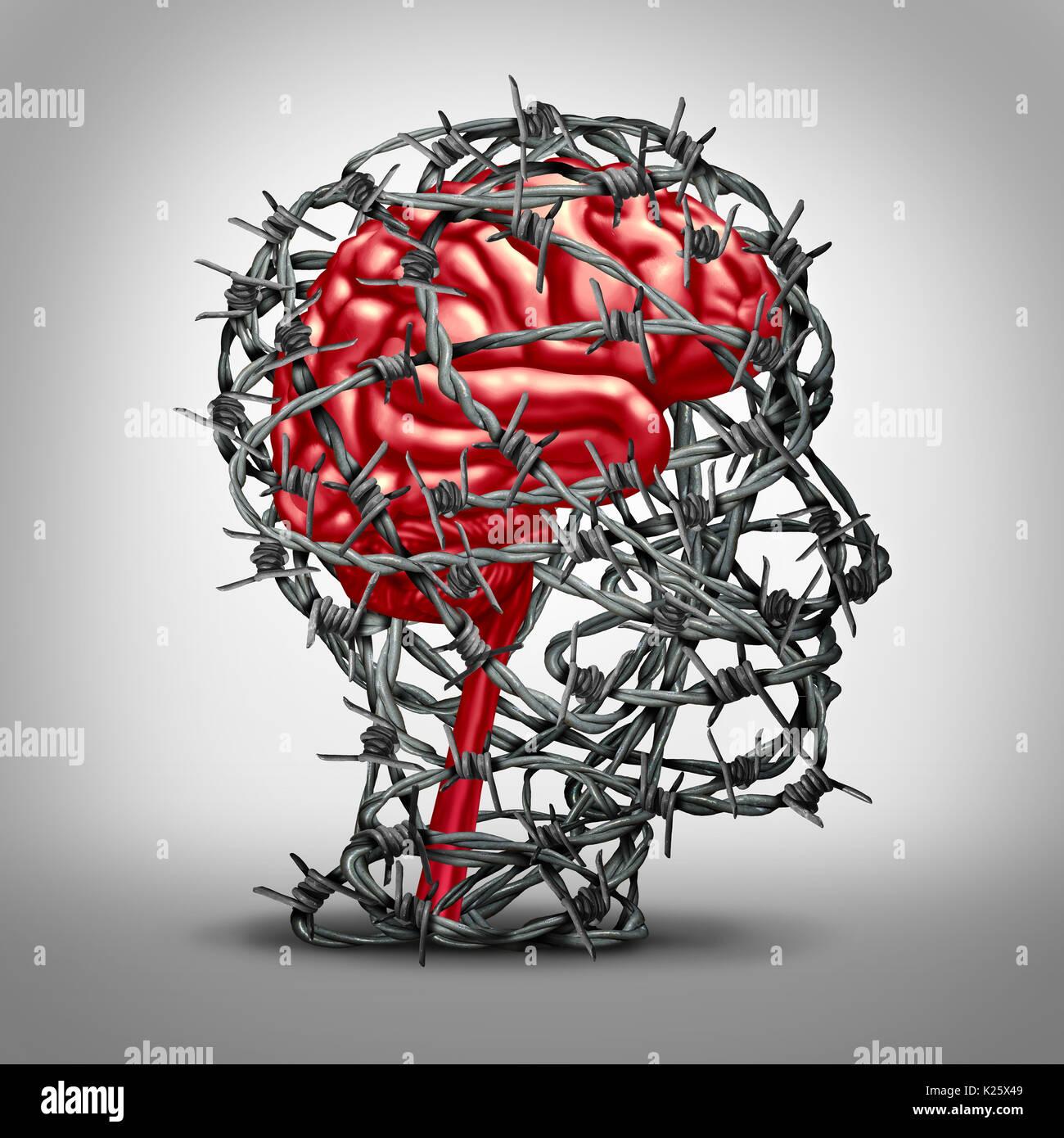 Concepto de protección cerebral y proteger la mente como un icono de la medicina la salud mental con la idea de un órgano de pensamiento humano protegido por alambre de púas de metal. Imagen De Stock