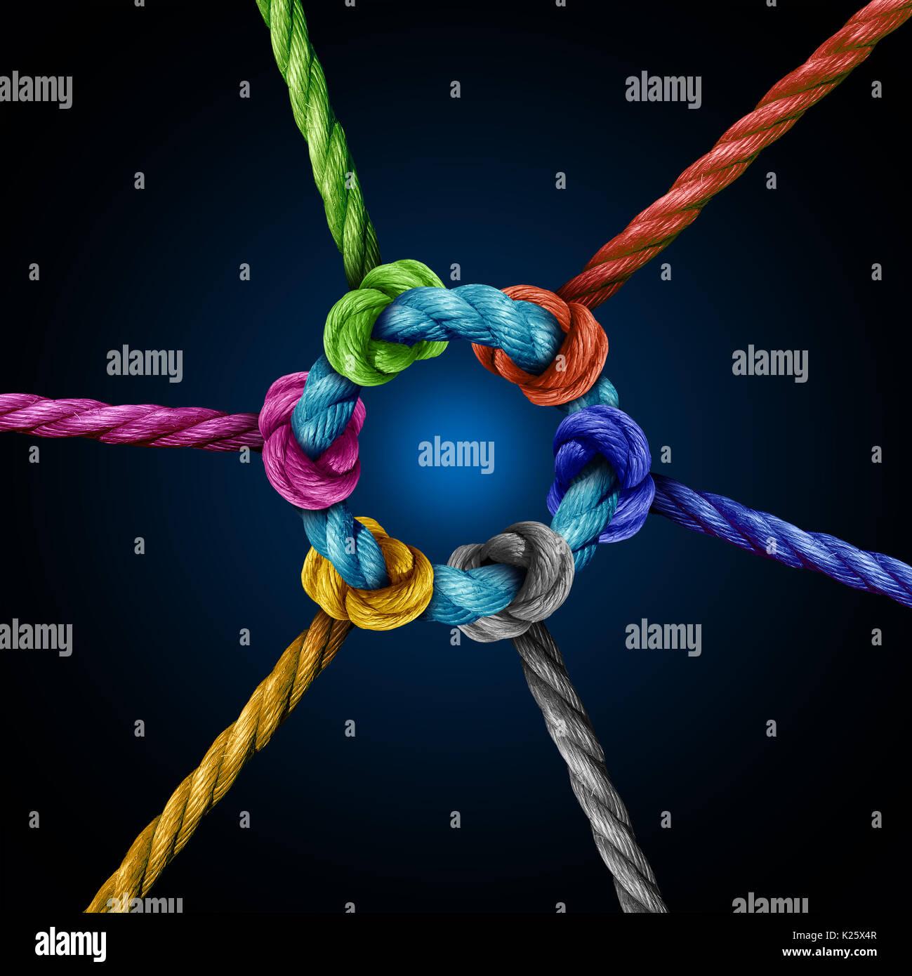 Conexión de red Centro de concepto de negocio como un grupo diverso de cuerdas conectadas a un círculo central cuerda como una metáfora para la conectividad de red. Imagen De Stock