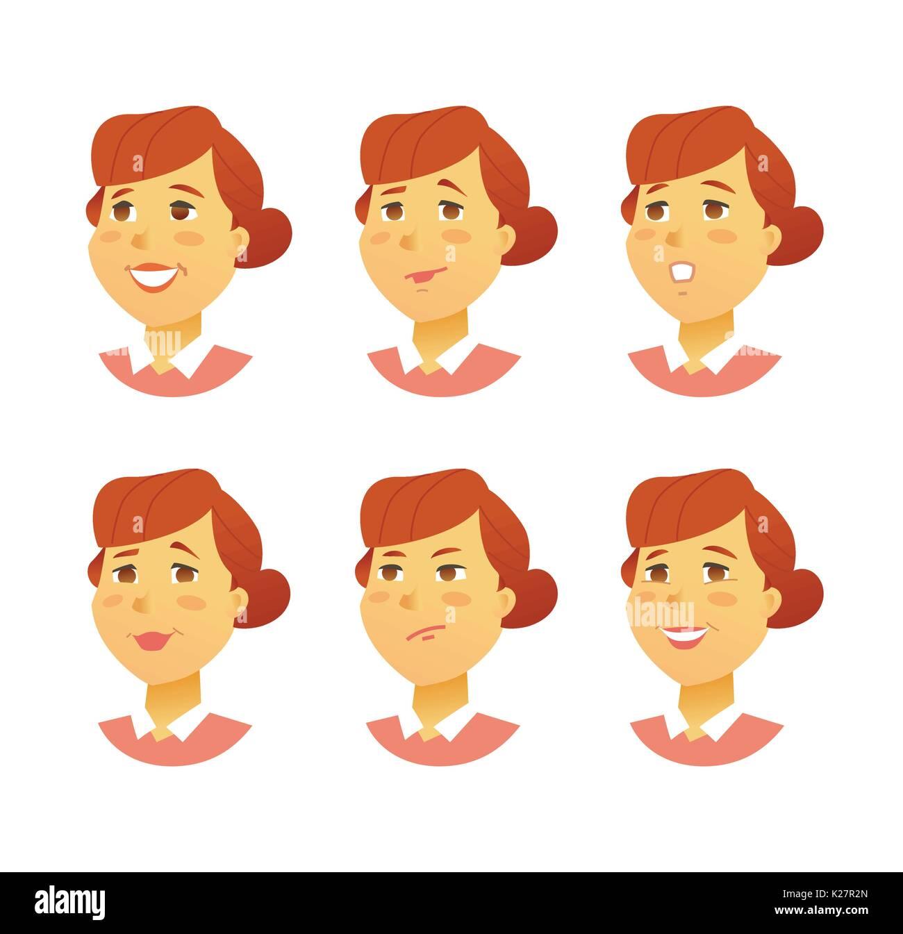 Las Expresiones Faciales Femeninos Modern Vector