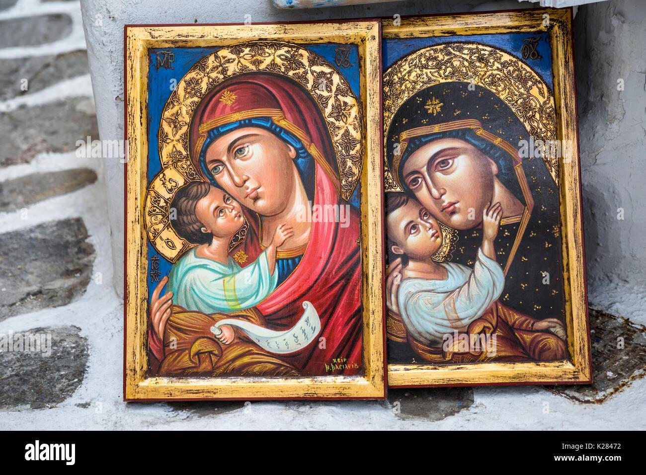 Dos iconos ortodoxos griegos enmarcadas de la Virgen María y el niño ...