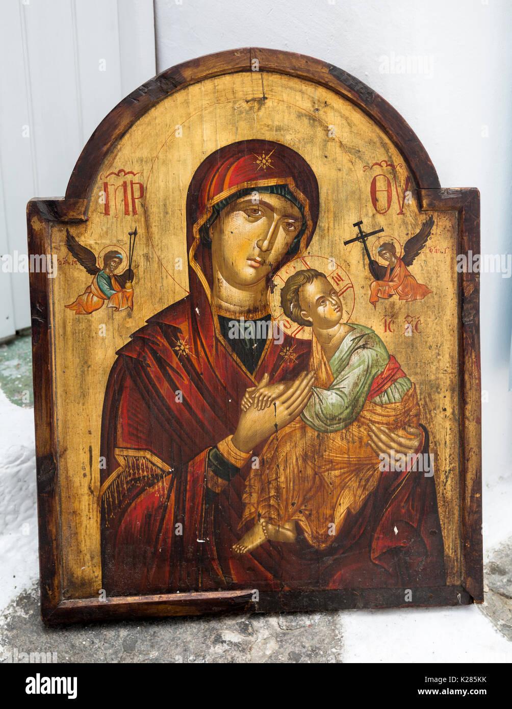 Enmarcado Ortodoxo Griego de la réplica del icono de la Virgen María ...