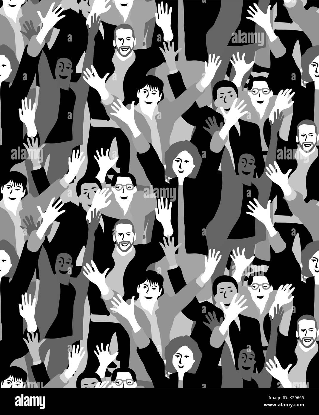 Gran multitud personas felices en blanco y negro patrón sin fisuras. Imagen De Stock