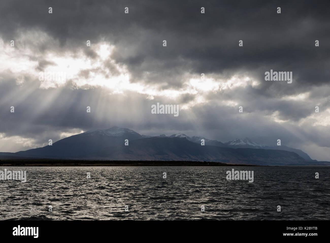 La última esperanza de sonido (Seno Ultima Esperanza) desde Puerto Natales, Chile, marzo de 2015. Imagen De Stock